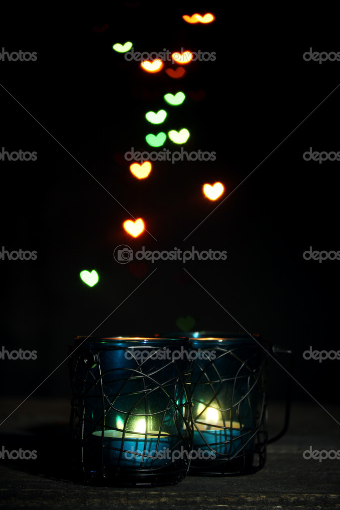 Beautiful candle and decor  on wooden table on bright background — Stock Photo #10730588