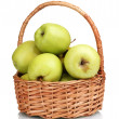 Juicy green apples in the basket isolated on white — Stock Photo #8112956