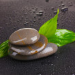Spa stones with water drops and leaves on black background — Stock Photo