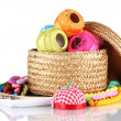 Bright threads for needlework and fabric in a wicker basket — Stock Photo #8114272