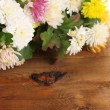 Stock Photo: Bright Chrysanthemums flowers on wooden background