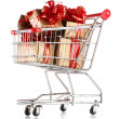 Beautiful golden gifts with red ribbon in shopping cart isolated on white — Stock Photo #8114572