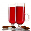 Mulled wine in the glasses, cinnamon and anise isolated on white — Stock Photo