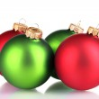 Beautiful green and red Christmas balls isolated on white — Stock Photo #8115258