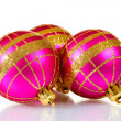 Beautiful pink Christmas balls isolated on white - Stok fotoğraf