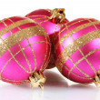 Beautiful pink Christmas balls isolated on white — Stock Photo #8115284