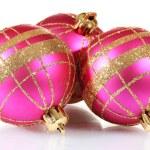 Beautiful pink Christmas balls isolated on white — Stock Photo #8115284