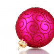 Beautiful pink Christmas ball isolated on white - Stok fotoğraf