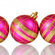 Beautiful pink Christmas balls isolated on white - Stockfoto