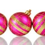 Beautiful pink Christmas balls isolated on white — Stock Photo #8115289