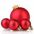 Beautiful red Christmas balls isolated on white - Zdjęcie stockowe