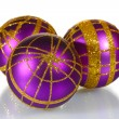 Beautiful purple Christmas balls isolated on white - Stok fotoğraf