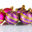 Beautiful purple and pink Christmas balls isolated on white - Stockfoto