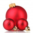 Beautiful red Christmas balls isolated on white - Stok fotoğraf