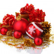 Beautiful red Christmas balls, gifts and cones isolated on white — Stock Photo