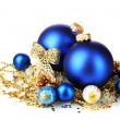 Stock Photo: Beautiful blue Christmas balls and cones isolated on white