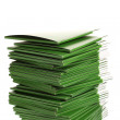 Many green folders isolated on white — Stockfoto