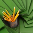 Many green folders closeup - Foto Stock