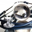 Globe and stethoscope isolated on white — Stock Photo #8116939