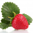 Sweet strawberry with leaves isolated on white — Stock Photo