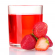 Fresh strawberry and juice glass isolated on white - Stock Photo