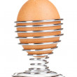 Boiled egg in metal stand isolated on white — Stock Photo #8118229