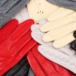 lot of beautiful women leather gloves closeup — Stock Photo