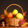 Beautiful autumn harvest in basket and leaves on brown background — Stock Photo #8118735