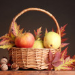 Beautiful autumn harvest in basket and leaves on brown background — Stock Photo #8118747