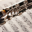 Close up detail of clarinet and notebook with notes — Stock Photo #8119651