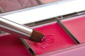 Makeup set with brush closeup — Stock Photo