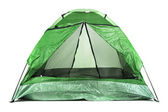 Green tourist tent isolated on white — Stock Photo