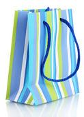 Sacchetto regalo a righe isolata su bianco — Foto Stock