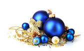 Beautiful blue Christmas balls and cones isolated on white — Stock Photo