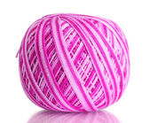 Pink wool ball isolated on white — Stock Photo