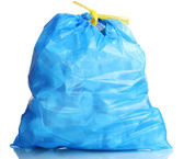 Blue garbage bag with trash isolated on white — Stock Photo