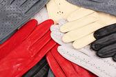 Lot of beautiful women leather gloves closeup — Stock Photo