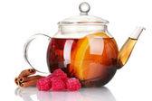 Glass teapot with black tea of raspberries,orange, cinnamon isolated on whi — Stock Photo