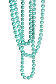Beautiful necklace of blue pearls isolated on white — Stock Photo