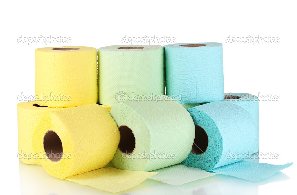Rolls of toilet paper isolated on white — Stock Photo #8113752
