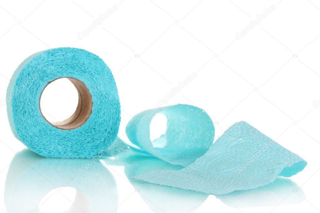 Blue toilet paper isolated on white — Stock Photo #8113770