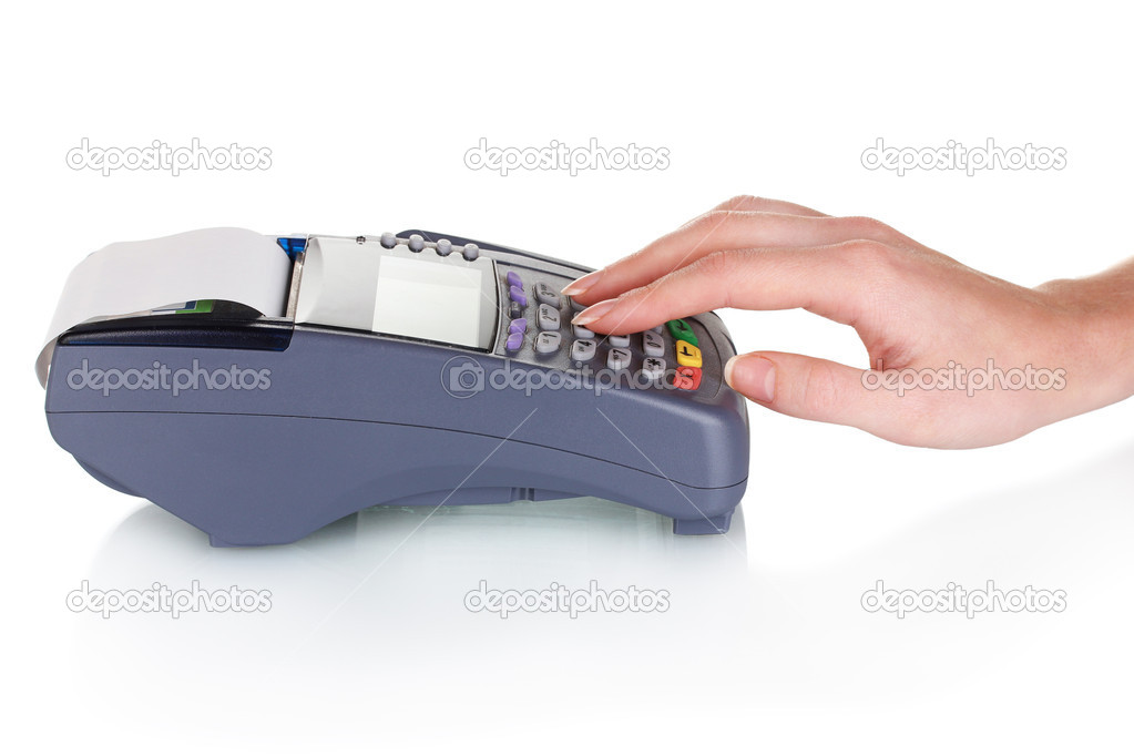 Bank terminal and hand isolated on white — Stock Photo #8113776