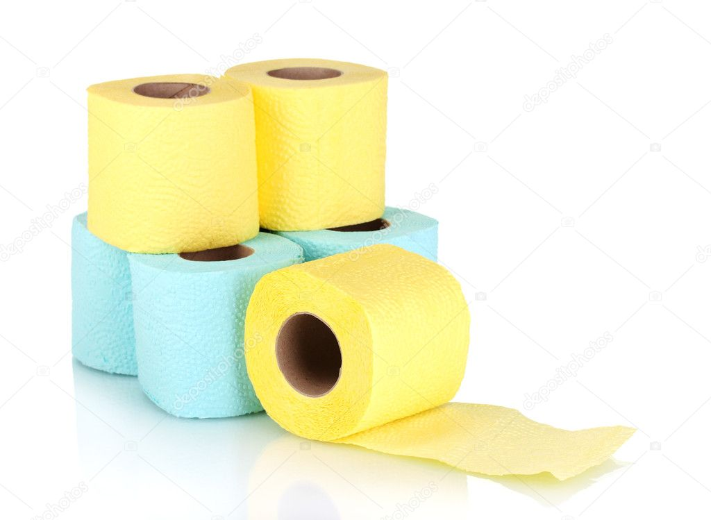 Rolls of toilet paper isolated on white — Stock Photo #8113794