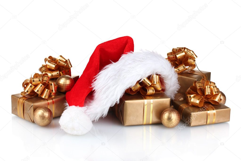 Beautiful Christmas hat, gifts and Christmas balls isolated on white — Stock Photo #8113819