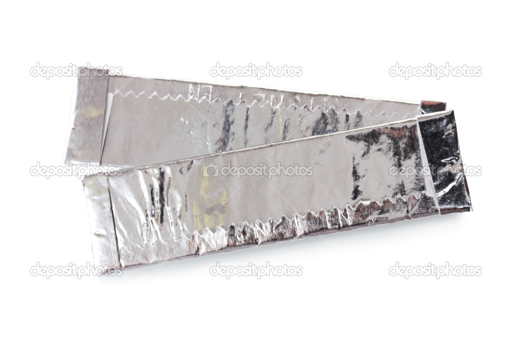 Two chewing gums wrapped in standard silver foil, isolated on white — Stock Photo #8114325