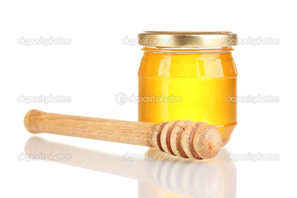 Tasty honey and honey dipper  isolated on white — Stock Photo #8114368