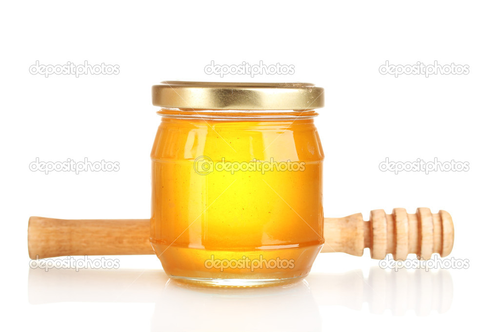 Tasty honey and honey dipper  isolated on white  Stock Photo #8114372