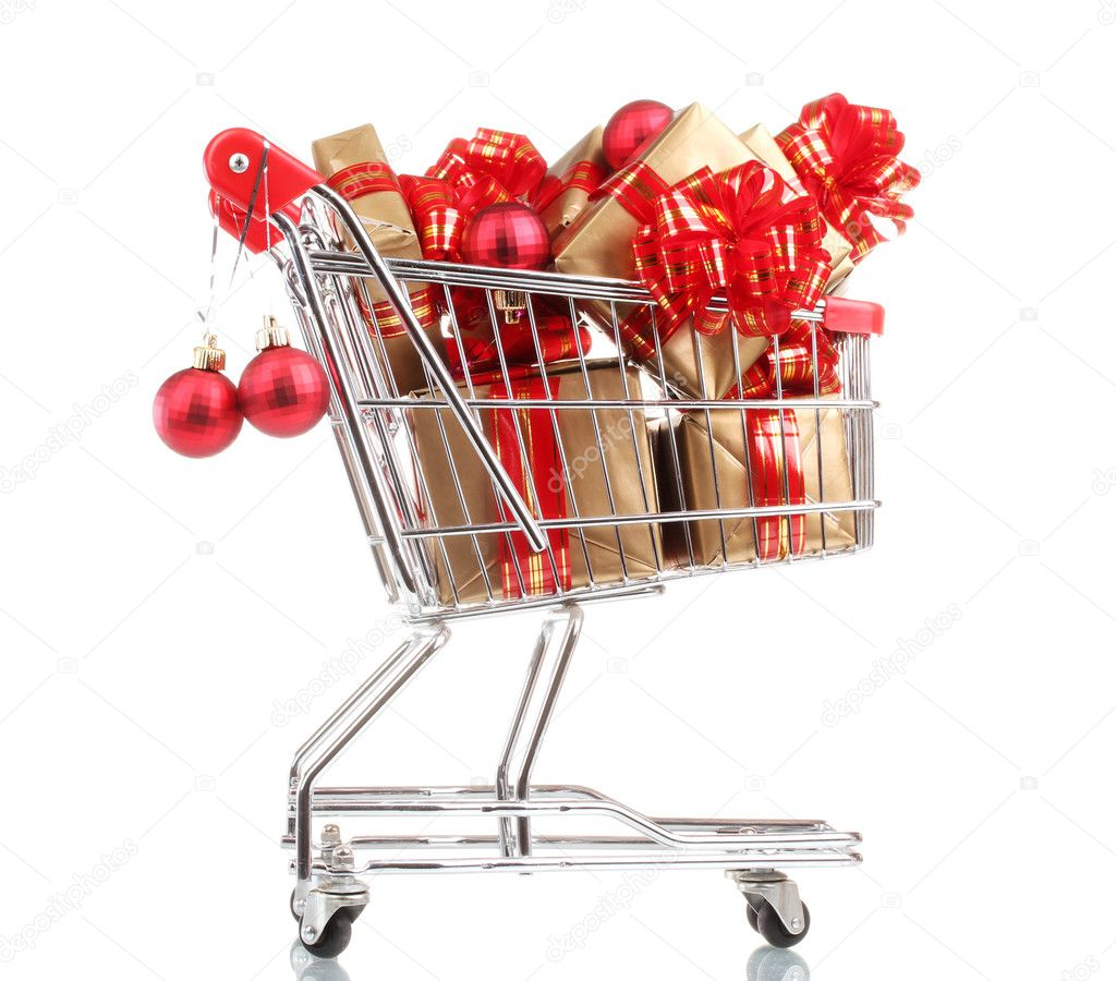 Beautiful golden gifts with red ribbon and Christmas balls in  shopping cart isolated on white — Stock Photo #8114530
