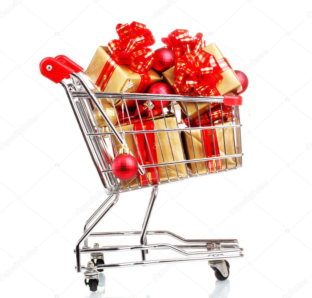 Beautiful golden gifts with red ribbon and Christmas balls in  shopping cart isolated on white — Stock Photo #8114532