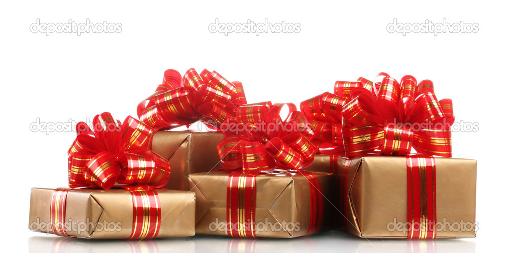 Beautiful golden gifts with red ribbon isolated on white — Stock Photo #8114538